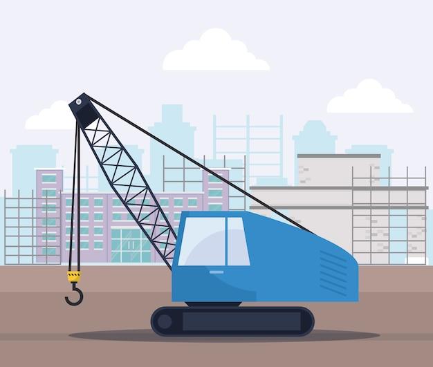 建設用クレーントラック Premiumベクター