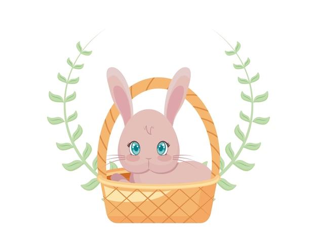Милый кролик в плетеной корзине с короной из листьев Premium векторы