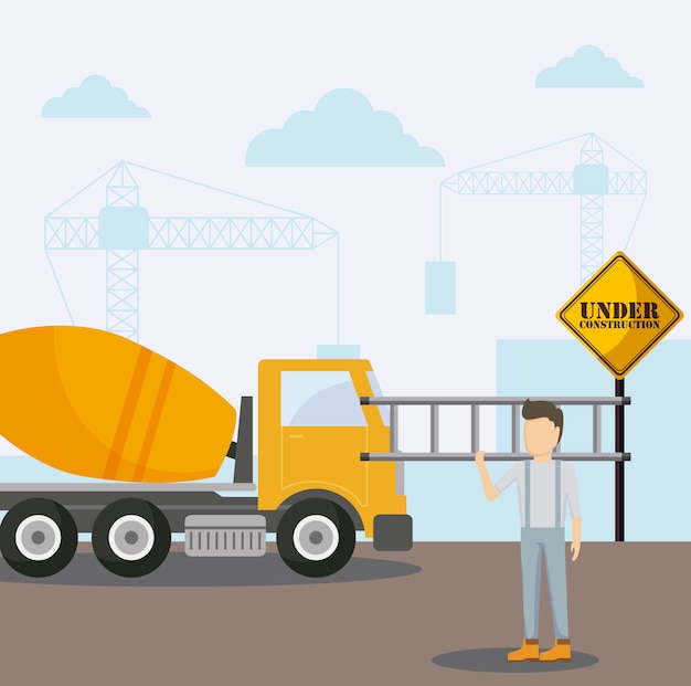 建設中コンクリート輸送トラックおよび労働者 Premiumベクター