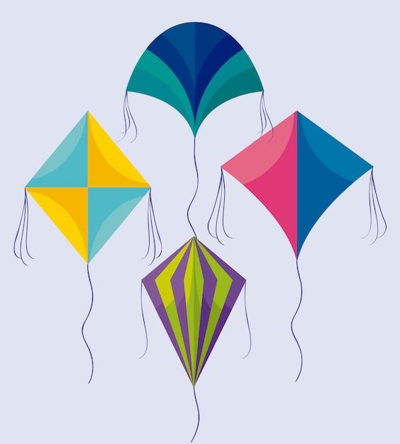 アイコンを飛んでいる凧のセット Premiumベクター