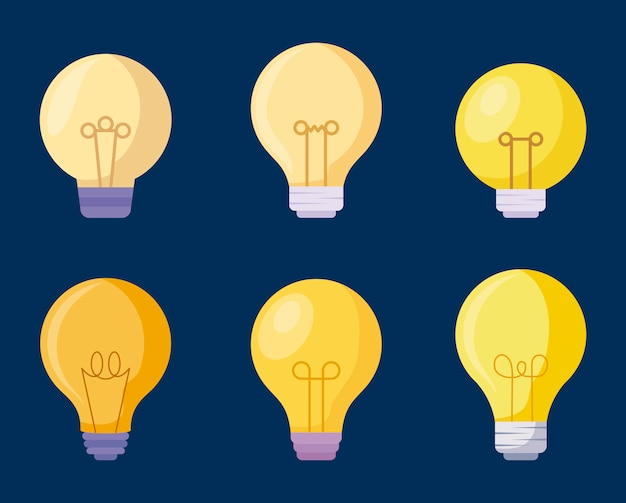 Установить значки лампочек Premium векторы