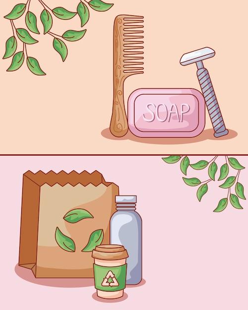 髪の櫛木製生態とセット Premiumベクター