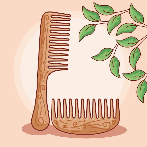 木の髪の櫛のセット Premiumベクター