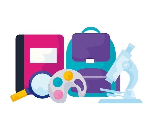 Школьная сумка с лупой и набором принадлежностей Premium векторы