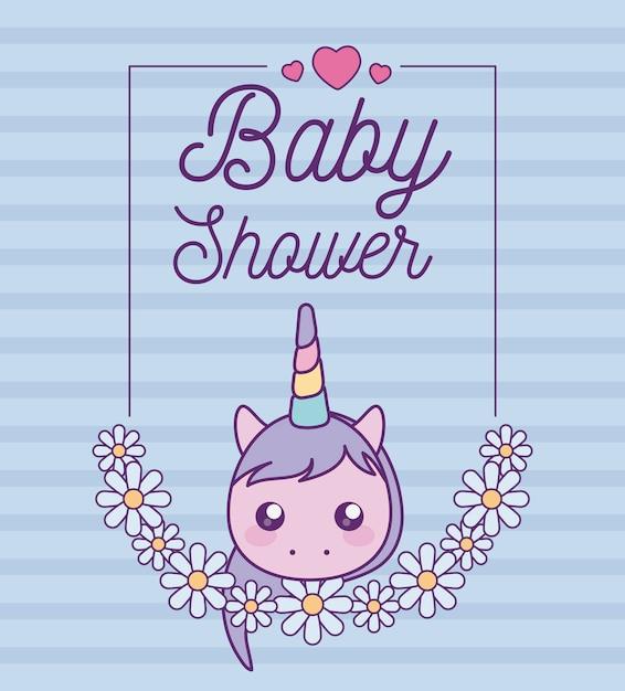 かわいいユニコーンの頭を持つベビーシャワーカード Premiumベクター