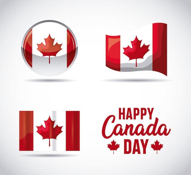 カナダの愛国心が強い人のフラグのセット Premiumベクター
