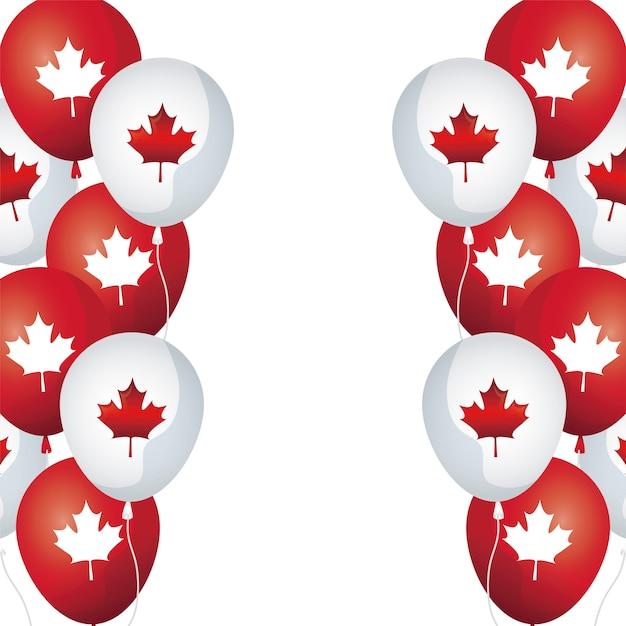 メープルと風船ヘリウムのフレーム葉カナダ Premiumベクター