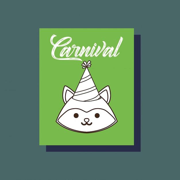 カーニバルフォックス動物カード Premiumベクター