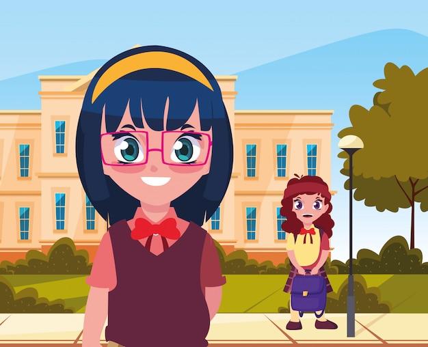 学校に戻る女子学生の外で Premiumベクター