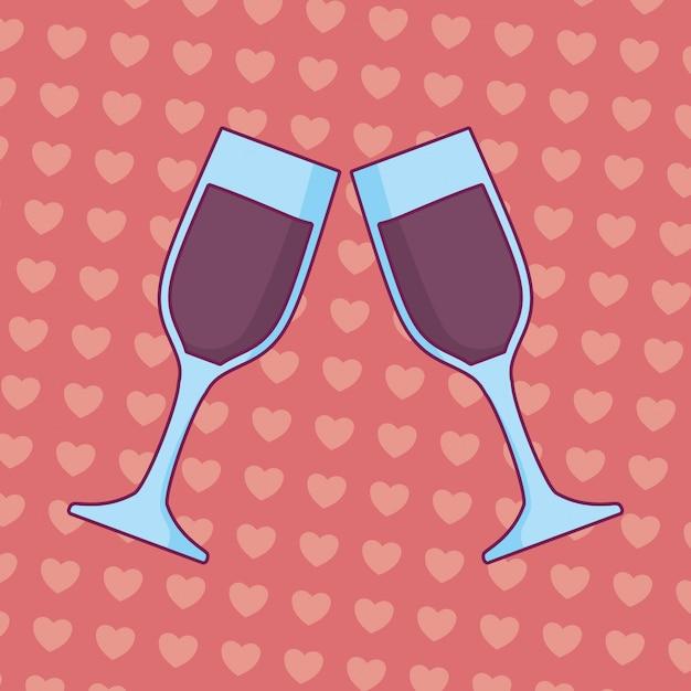 メガネ乾杯と結婚式のお祝い Premiumベクター