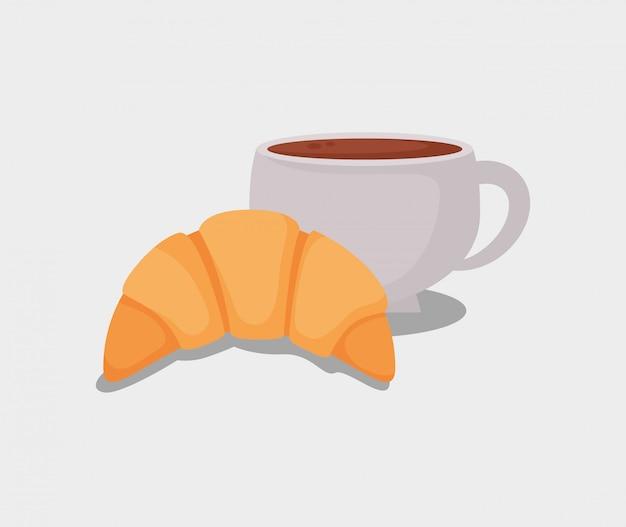 おいしいクロワッサンパンとコーヒーカップ Premiumベクター