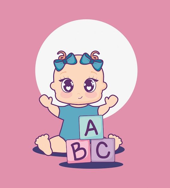 女の子とアルファベットのブロックとベビーシャワーカード Premiumベクター