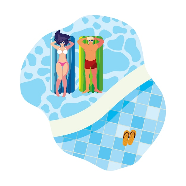 水でフロートマットレスと若いカップル Premiumベクター