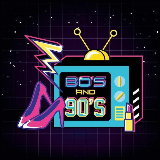 Телевизор с иконами восьмидесятых и девяностых ретро Premium векторы