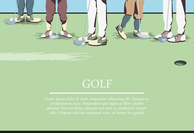 ゴルフ場のゴルファーの足 Premiumベクター