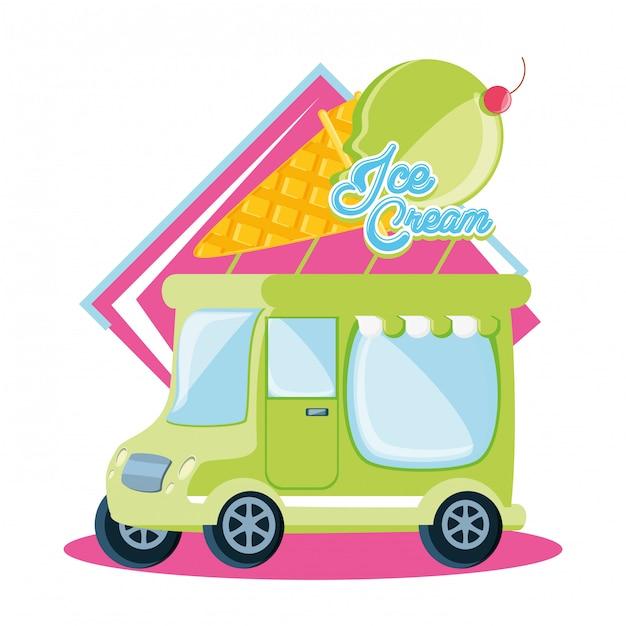 アイスクリームショップバン Premiumベクター