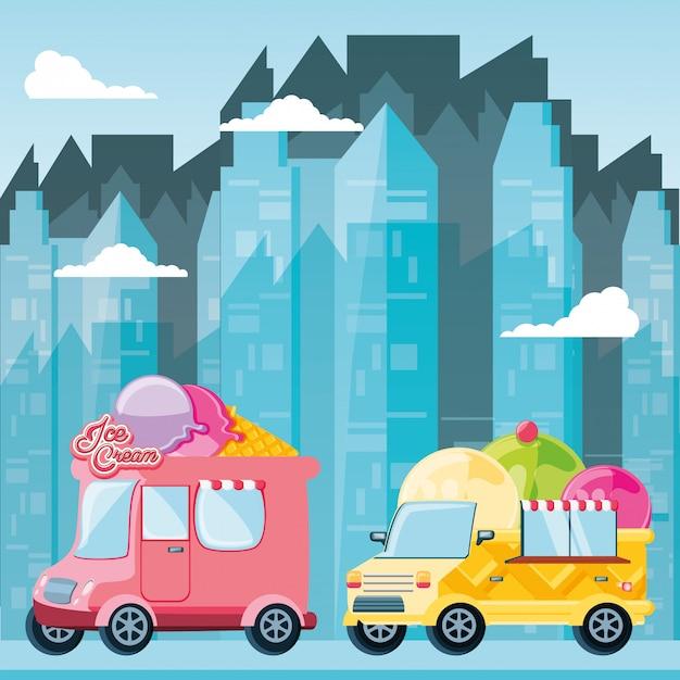 Фургон мороженого Premium векторы