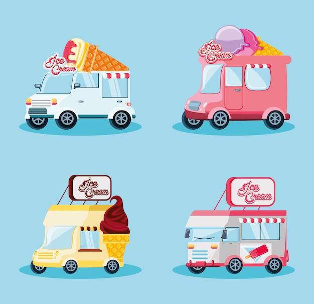 Набор фургонов для мороженого Premium векторы