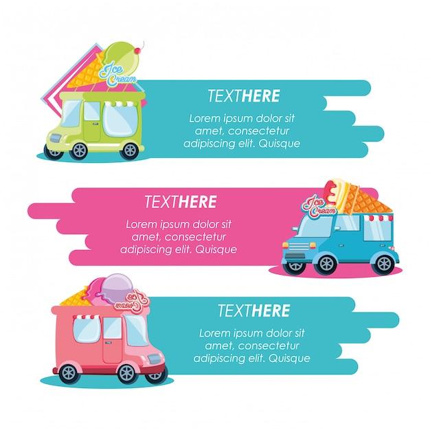 Мороженое набор фургонов Premium векторы