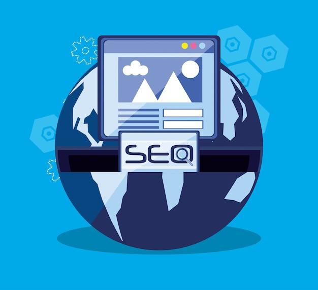 世界の惑星での検索エンジン最適化 Premiumベクター