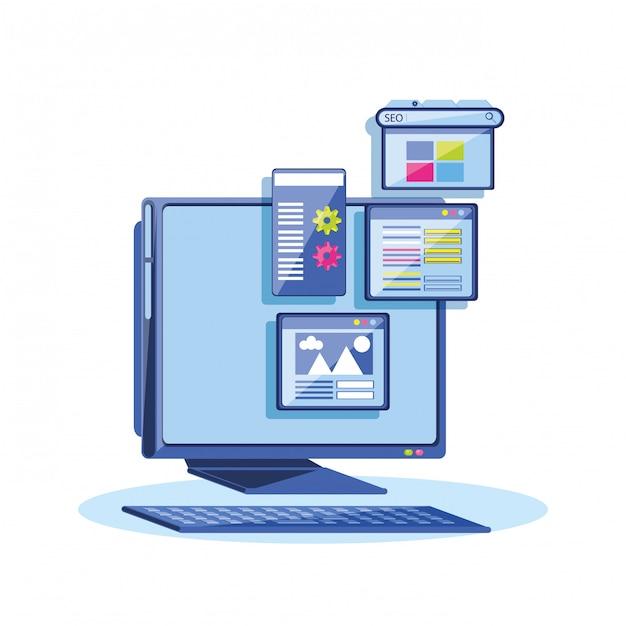 デスクトップを使用した検索エンジンの最適化 Premiumベクター