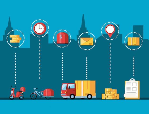 Транспортные средства и набор иконок для логистического сервиса Premium векторы