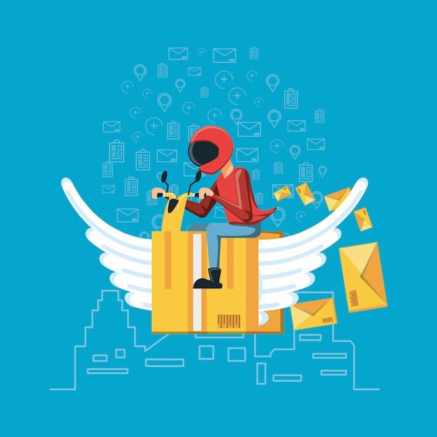 ロジスティックサービスを飛んでいるボックスと宅配便ワーカー Premiumベクター