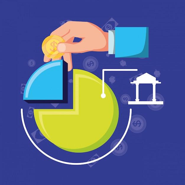 設定アイコン経済金融と統計グラフィックス Premiumベクター