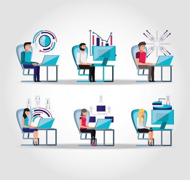 働く人々をグループ化し、ビジネスのアイコンを設定 Premiumベクター