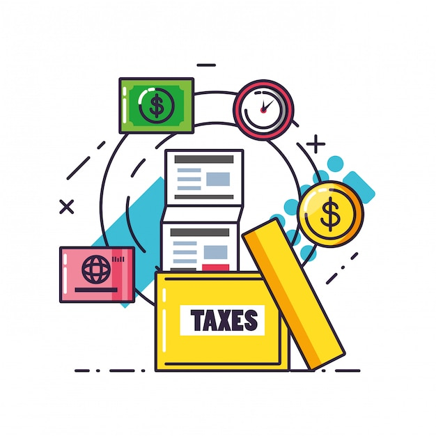 ドキュメントと設定アイコンで税の日 Premiumベクター