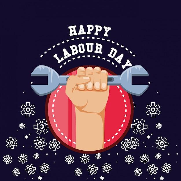 手拳で幸せな労働者の日 Premiumベクター
