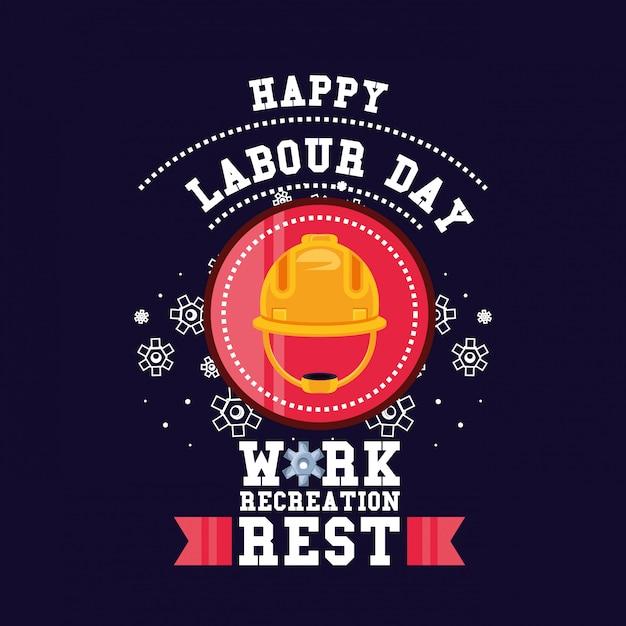 セキュリティヘルメットと幸せな労働者の日 Premiumベクター