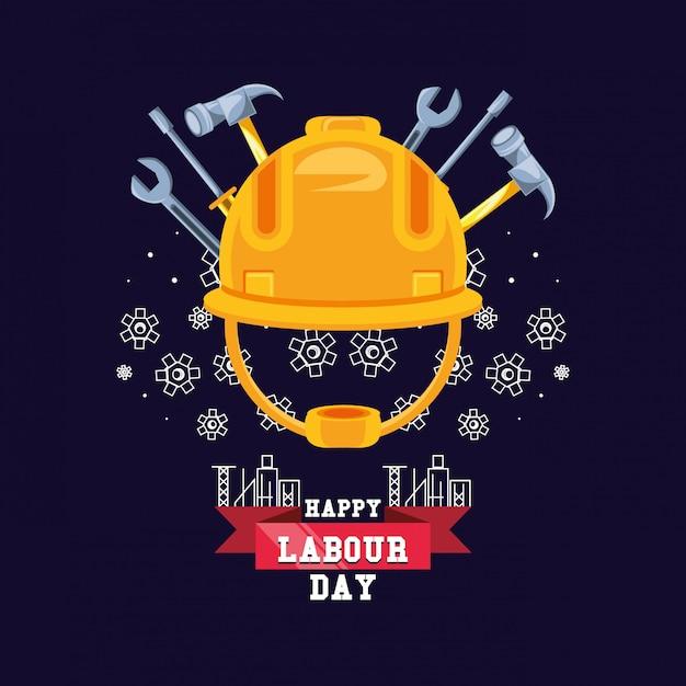 ヘルメットのセキュリティとツールで幸せな労働者の日 Premiumベクター