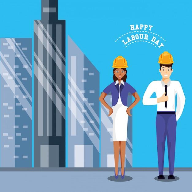 ビジネスマンとの幸せな労働者の日 Premiumベクター