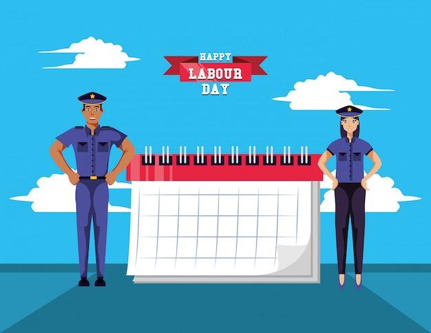 警察との幸せな労働の日 Premiumベクター