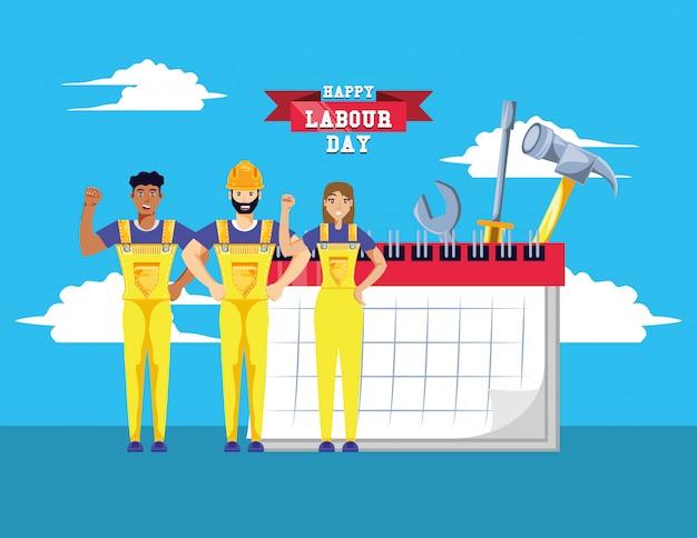 建設労働者との幸せな労働者の日 Premiumベクター