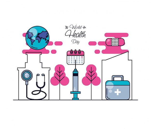 Всемирный день здоровья с аптечкой и набором иконок Premium векторы