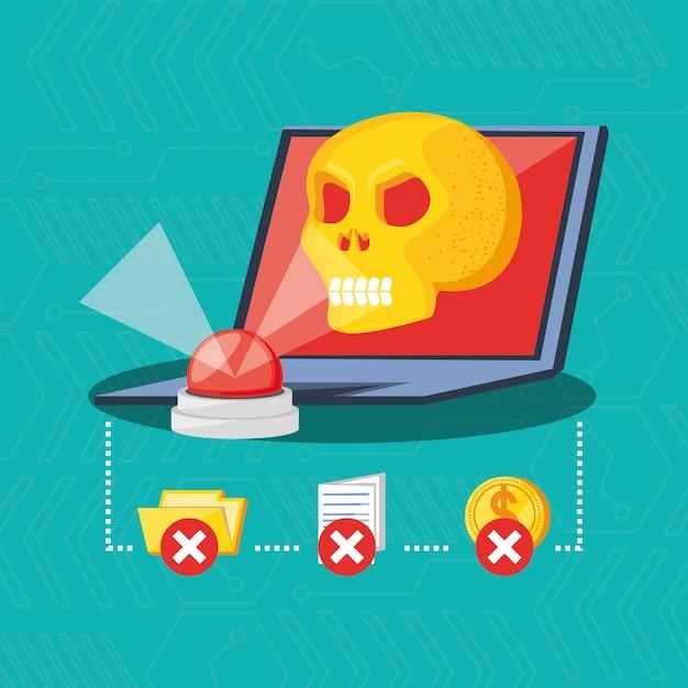 Концепция кибербезопасности портативного компьютера Premium векторы