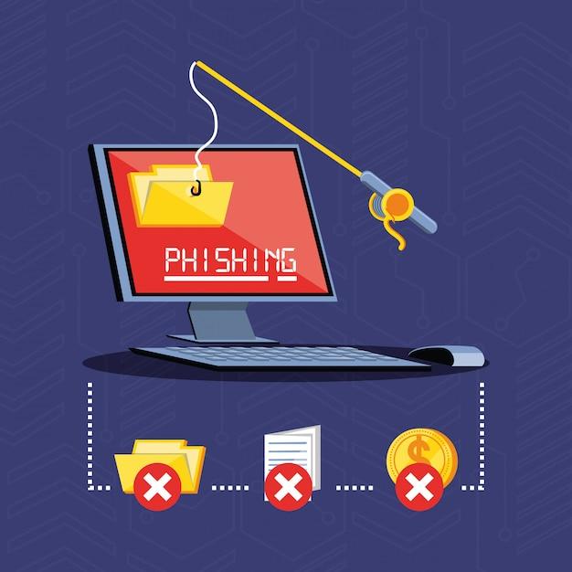 デスクトップコンピューターのサイバーセキュリティ Premiumベクター