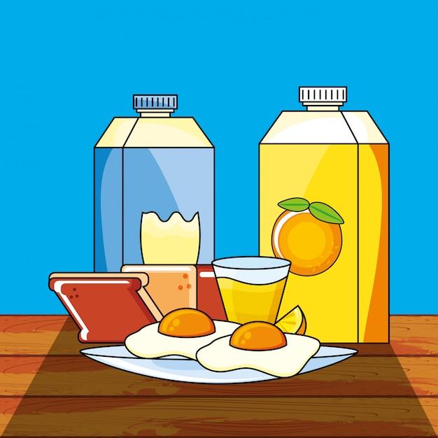 おいしい朝食 Premiumベクター
