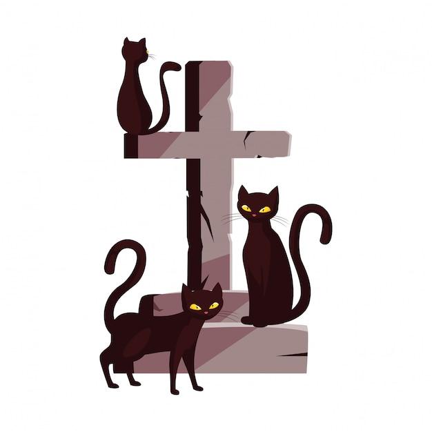 猫は幸せなハロウィーンのお祝いを渡る Premiumベクター