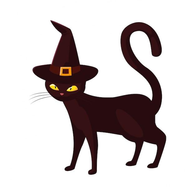 Черная кошка с праздником хэллоуин Premium векторы