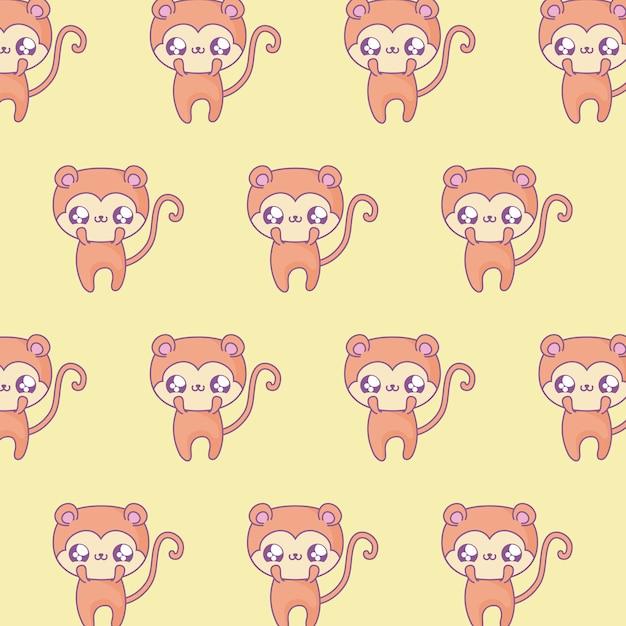 Выкройка милых обезьян младенца животных в стиле каваи Premium векторы