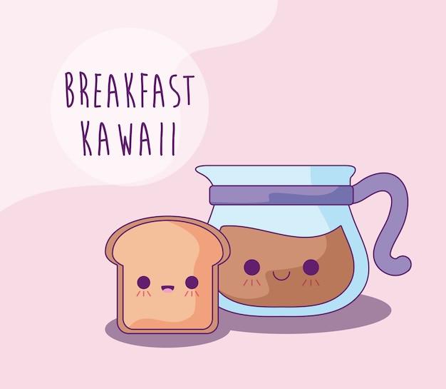 Ломтик хлеба и чайник с кофе на завтрак в стиле каваи Premium векторы