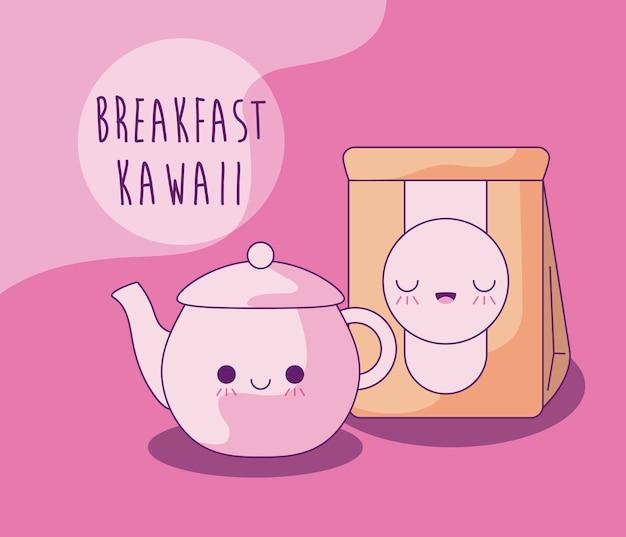 Чайник с бумажной сумкой для завтрака в стиле каваи Premium векторы