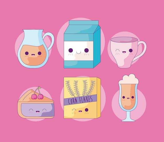 Чайник с набором еды в стиле каваи Premium векторы