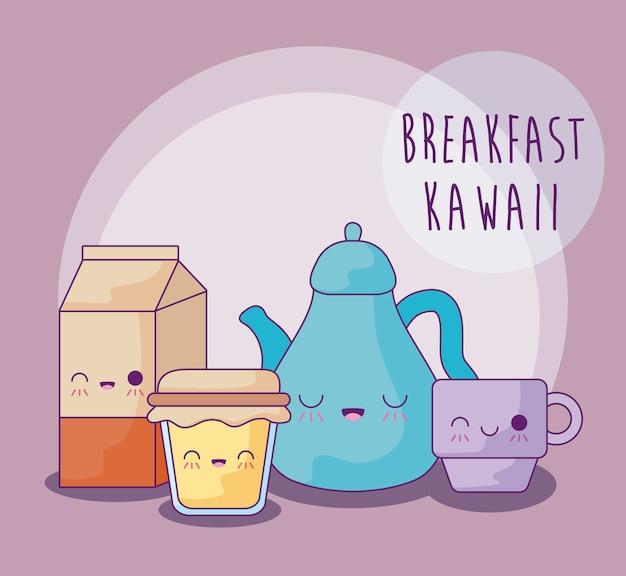 Набор вкусной еды на завтрак в стиле каваи Premium векторы