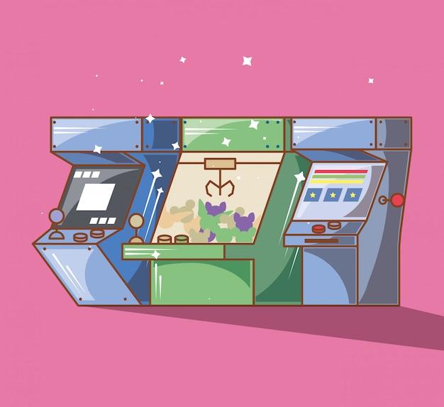 さまざまなスタイルのクラシックビデオゲームコンソール Premiumベクター