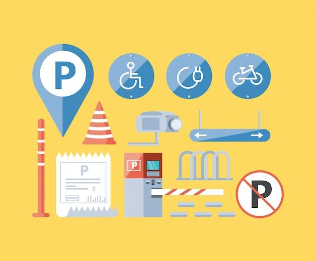 Набор парковочных зон городских иконок Premium векторы