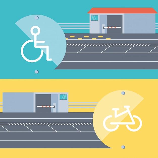Вход для людей с ограниченными возможностями и зона парковки велосипедов Premium векторы